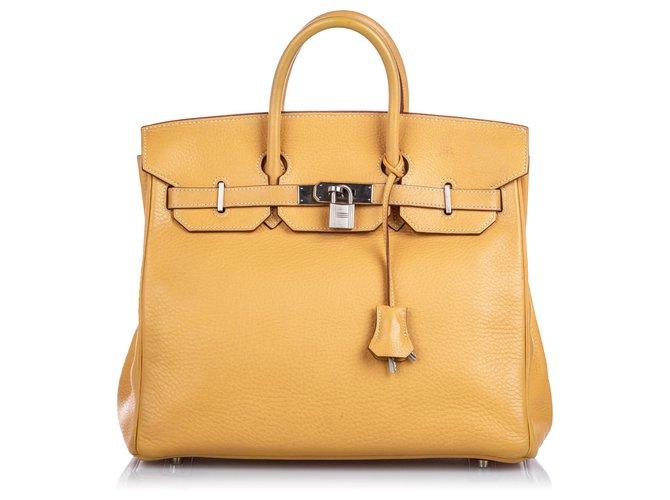 Hermès Hermes Yellow Clemence HAC Birkin 32 Handbags Leather,Pony-style calfskin Yellow ref.183543