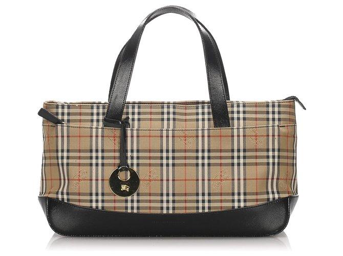 Burberry Burberry Brown Haymarket Check Canvas Handbag Handbags Leather,Cloth,Pony-style calfskin,Cloth Brown,Multiple colors,Beige ref.183552
