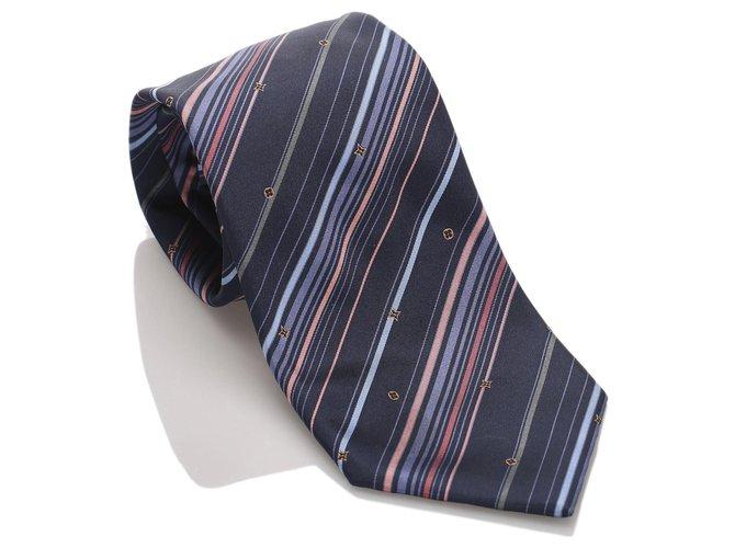 Louis Vuitton Louis Vuitton Blue Striped Silk Tie Misc Silk,Cloth Blue,Multiple colors ref.183566