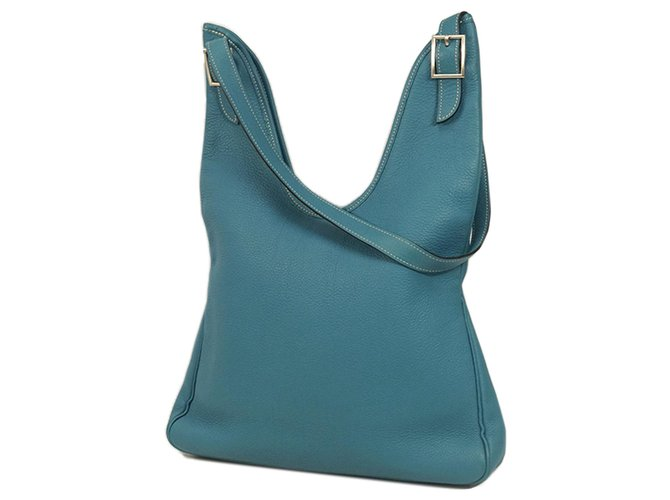 Hermès Hermes Blue Togo Leather Massai PM Handbags Leather,Pony-style calfskin Blue ref.183575
