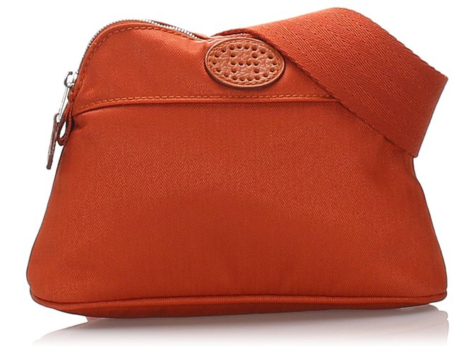 Hermès Hermes Brown Bolide San Tulle Golf Belt Bag Clutch bags Cotton,Cloth Brown ref.183706
