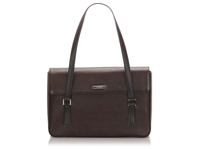 Burberry Burberry Brown Leather Tote Bag Totes Leather,Pony-style calfskin Brown,Black ref.183875