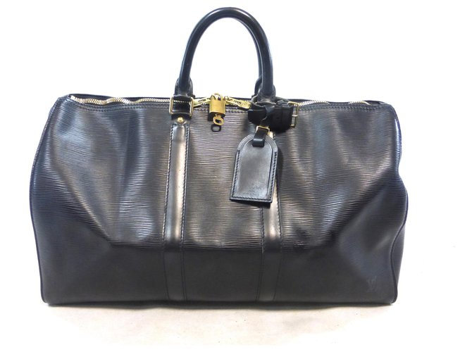 Sacs de voyage Louis Vuitton KEEPALL 45 CUIR EPI NOIR Cuir Noir ref.183906