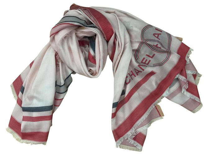 Chanel Chanel stole Scarves Silk Pink ref.183912