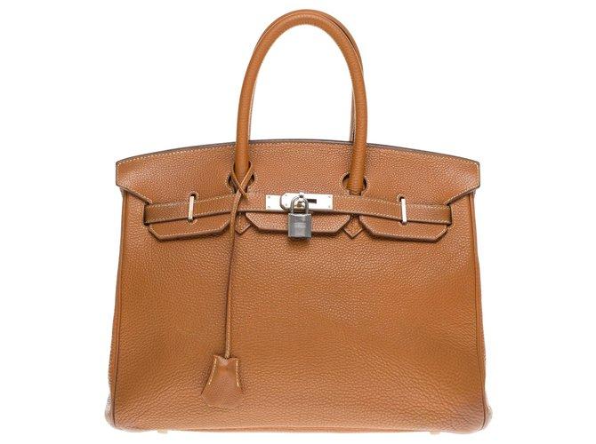 Hermès HERMES BIRKIN 35 Togo Gold leather, metal hardware in palladium silver Handbags Leather Golden ref.183944