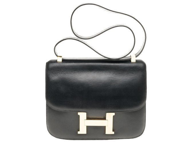 Hermès Hermes Constance 23 black box leather, gold-plated metal trim in very good condition Handbags Leather Black ref.183947