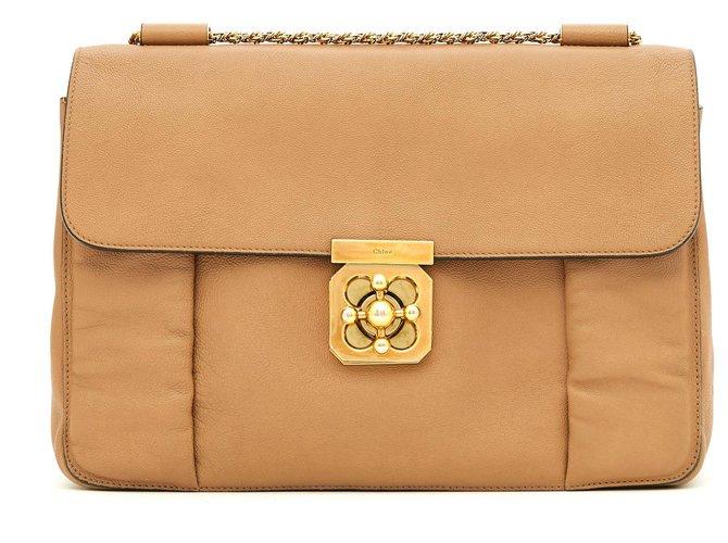 Chloé ELSIE GM BEIGE Handbags Leather Beige ref.183949