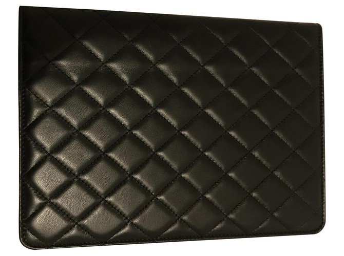 Chanel IPad case for Chanel tablet Misc Leather Black ref.183956