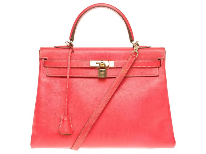"Hermès hermes kelly 35 two-color shoulder strap ""Candy"" limited edition in Rose Jaïpur and gold epsom leather, gold plated metal trim Handbags Leather Pink,Golden ref.183967"
