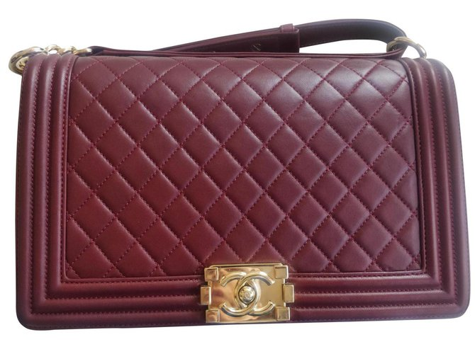 Chanel New Medium boy burgundy Handbags Leather Other ref.184171
