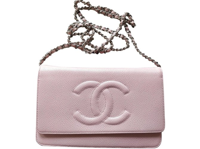 Chanel Woc caviar Handbags Leather Pink ref.201346