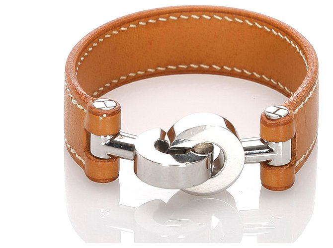 Hermès Hermes Brown Lancelot Leather Bracelet Bracelets Leather,Other,Metal,Pony-style calfskin Brown ref.184516