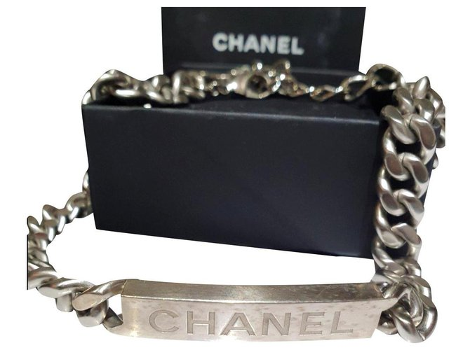 Chanel unisex chunky choker necklace Silvery Metal  ref.184549