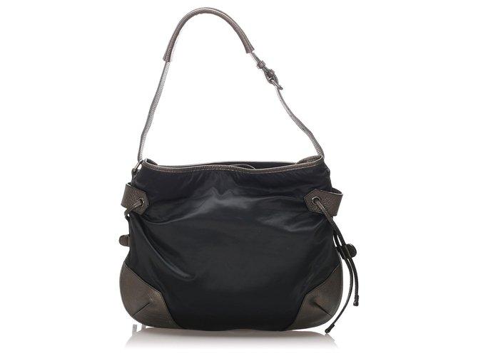 Burberry Burberry Black Nylon Drawstring Hobo Bag Handbags Leather,Pony-style calfskin,Nylon,Cloth Black ref.184709