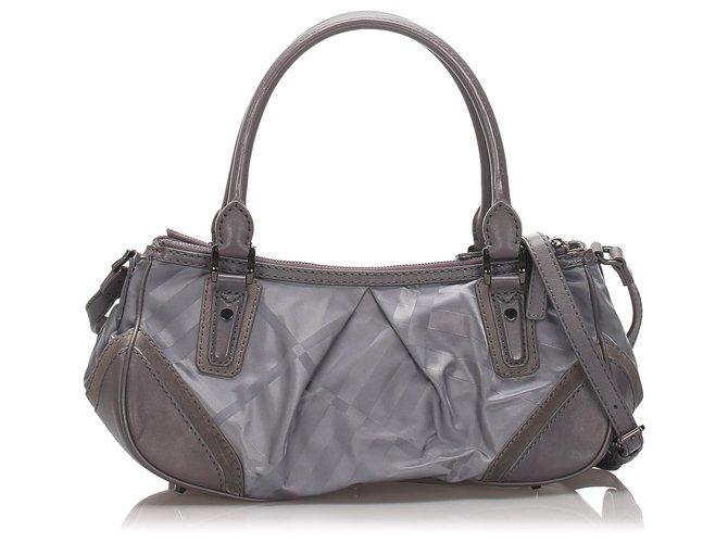 Burberry Burberry Gray Plaid Nylon Crossbody Bag Handbags Leather,Pony-style calfskin,Nylon,Cloth Grey ref.185206