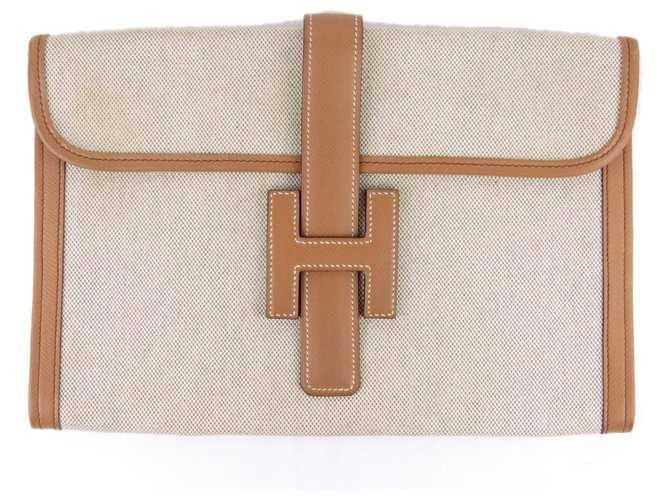 Hermès Hermes Brown Toile Jige 29 Clutch bags Leather,Cloth,Pony-style calfskin,Cloth Brown,Beige,Light brown ref.185415
