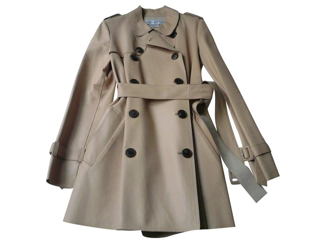 Christian Dior CHRISTIAN DIOR - BEIGE TRENCH LEATHER T40 Trench coats Lambskin Beige ref.185491
