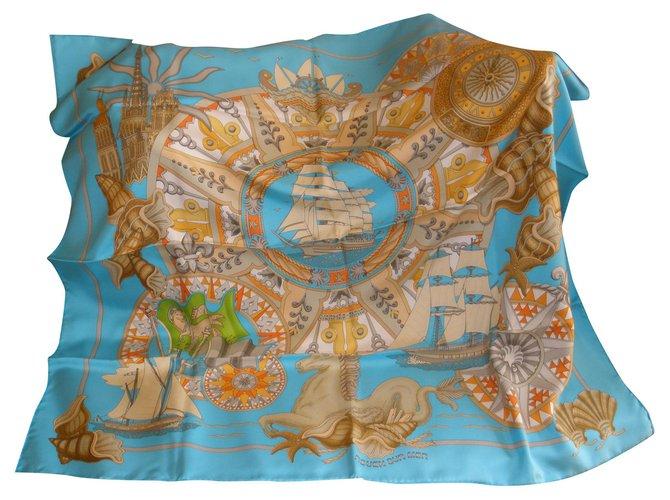 Hermès Silk scarves Silk scarves Silk Turquoise ref.185993