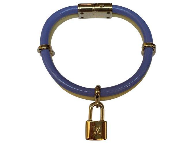 Bracelets Louis Vuitton Louis Vuitton, Bracelet keep it twice neuf jaune et violet Cuir vernis Violet,Jaune ref.186202