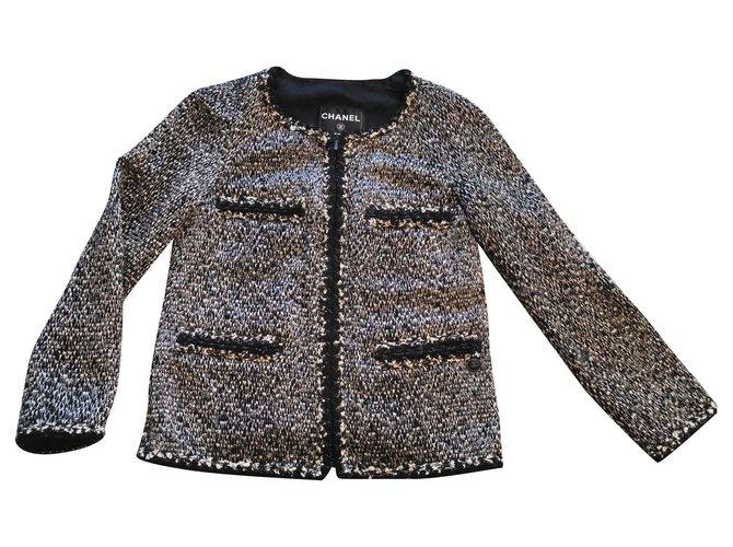 Chanel Chanel black and white tweed jacket FR34 Jackets Tweed Black,White ref.186407