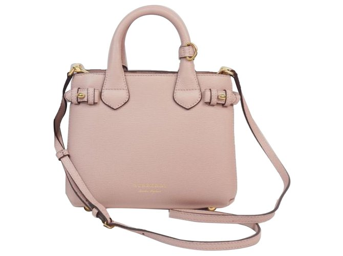 Burberry Burberry Pink Small Banner Leather Satchel Handbags Leather,Pony-style calfskin Brown,Pink,Other ref.186467