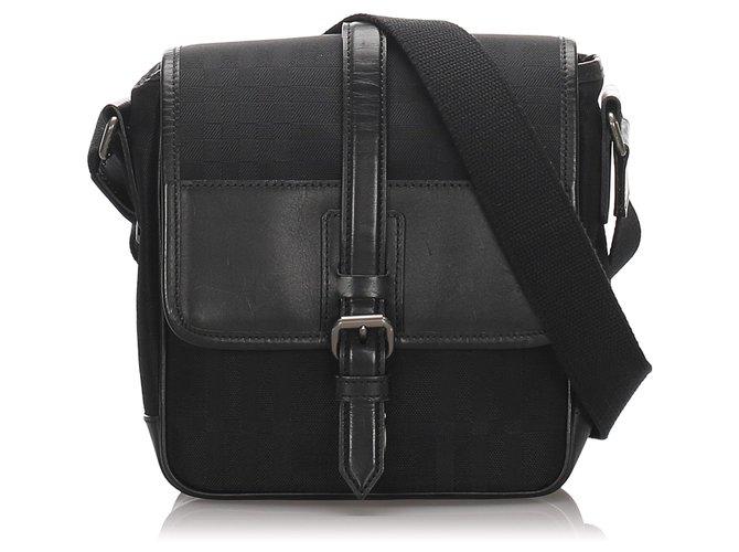 Burberry Burberry Black Canvas Crossbody Bag Handbags Leather,Cloth,Pony-style calfskin,Cloth Black ref.186620