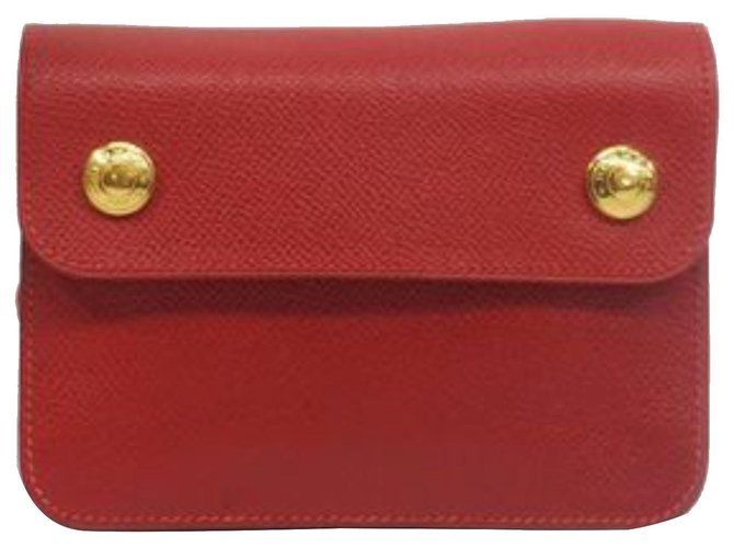 Hermès Hermes Red Courchevel Pochette Green Waist Bag Clutch bags Leather,Pony-style calfskin Red ref.186684