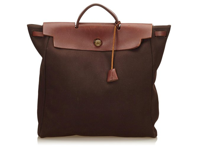 Hermès Hermes Brown Herbag MM Handbags Leather,Cloth,Pony-style calfskin,Cloth Brown,Dark brown ref.187101