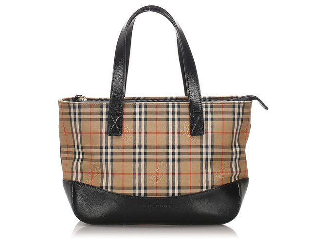 Burberry Burberry Brown Haymarket Check Canvas Handbag Handbags Leather,Cloth,Pony-style calfskin,Cloth Brown,Multiple colors,Beige ref.187649