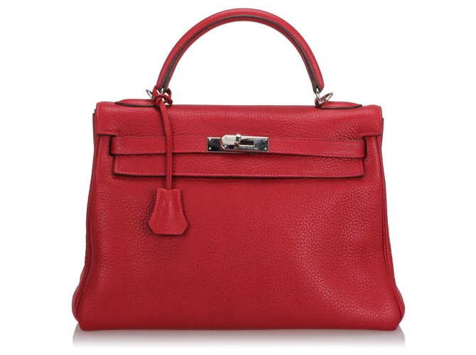 Hermès Hermes Red Clemence Kelly Retourne 32 Handbags Leather,Pony-style calfskin Red ref.188043