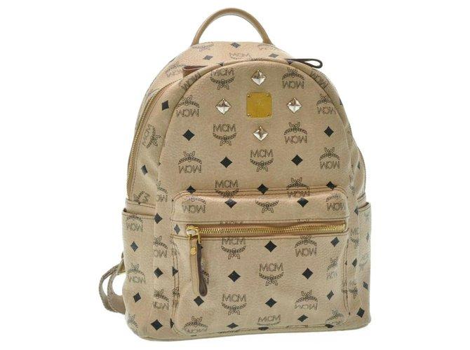 MCM MCM Leather Backpack Backpacks Leather Beige ref.188069