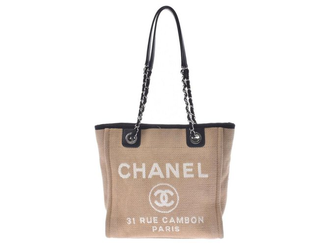 Chanel Chanel Deauville Totes Cotton Beige ref.188072