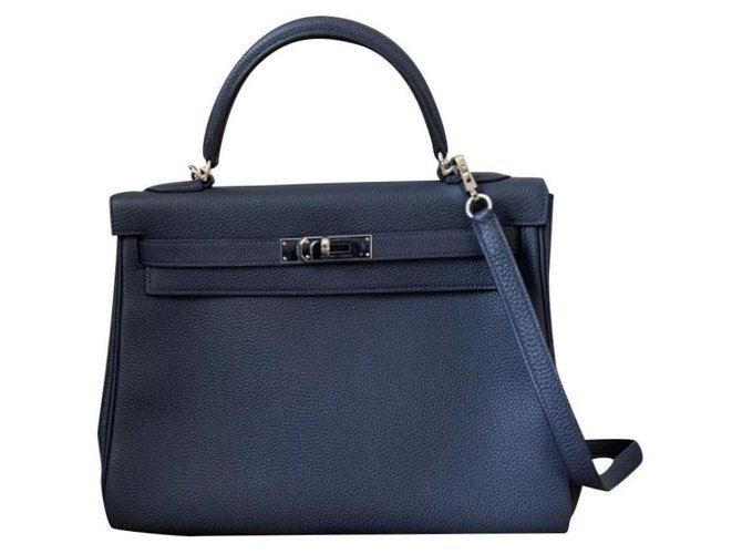 Hermès hermes kelly 32 returned blue night blue Handbags Leather Navy blue ref.188282