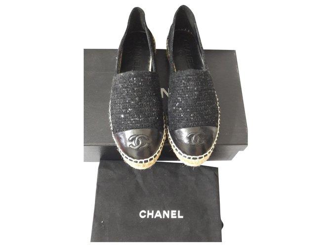 Chanel Ballet flats Ballet flats Cloth Black ref.188638
