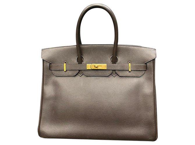 Hermès Hermès - Birkin 35 Vache Liegee Ebene Handbag Handbags Leather Brown ref.188644