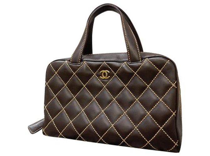 Sacs à main Chanel Chanel Stitch Sauvage Cuir Marron ref.188905