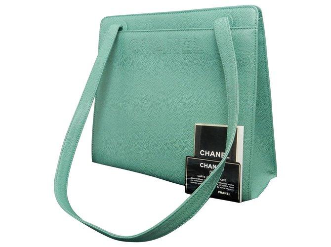 Sacs à main Chanel Chanel Vintage Sac à bandoulière Cuir Vert ref.188917