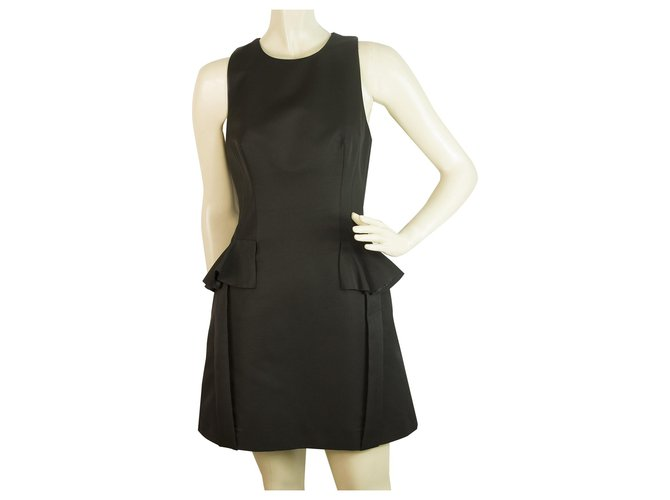 Alexander Mcqueen Alexander McQueen Black Ruffle Details Black Mini dress size 40 , Superb Dresses Cotton Black ref.189074