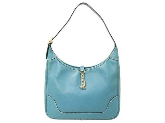 Hermès Hermès Trim Handbags Leather Blue ref.189196
