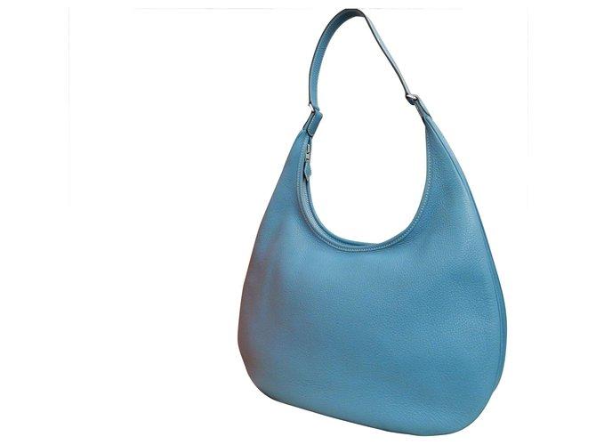 Hermès Hermès Gao Handbags Leather Blue ref.189219