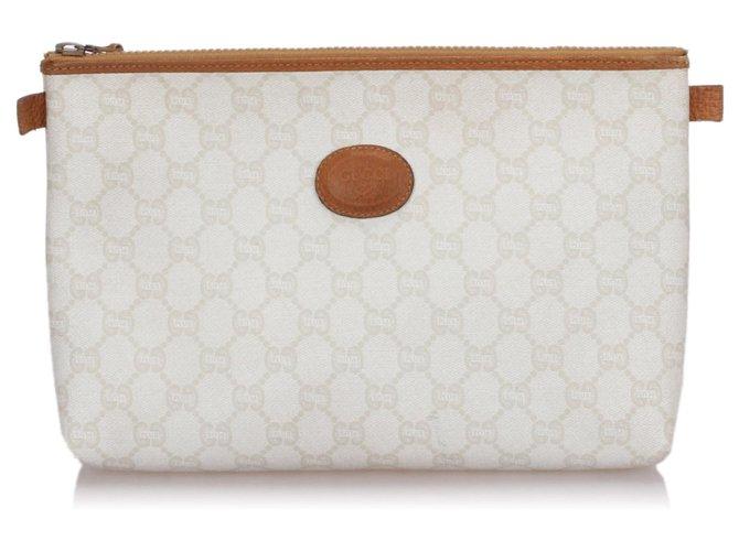 Pochettes Gucci Pochette blanche Gucci GG Plus Cuir,Plastique,Veau façon poulain Marron,Blanc ref.189293