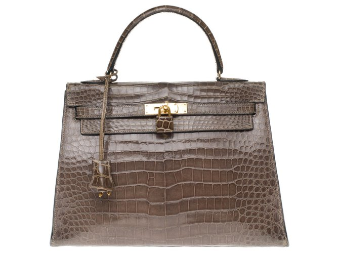 Hermès Superb and rare Kelly 32 Elephant Gray Porosus Crocodile, gold-plated metal trim! Handbags Exotic leather Grey ref.189440