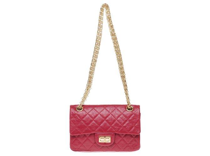 Sacs à main Chanel Sac Mini Chanel 2.55 Reissue en cuir matelassé rouge, bijouterie dorée, état exceptionnel ! Cuir Rouge ref.175712