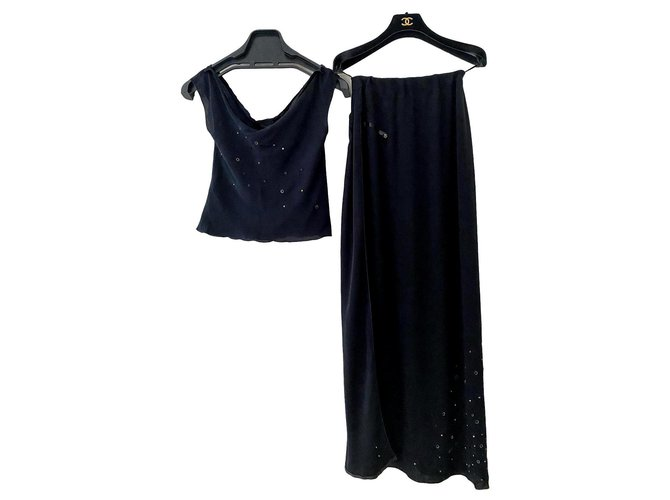 Chanel Skirt suit Skirt suit Silk Black ref.189838