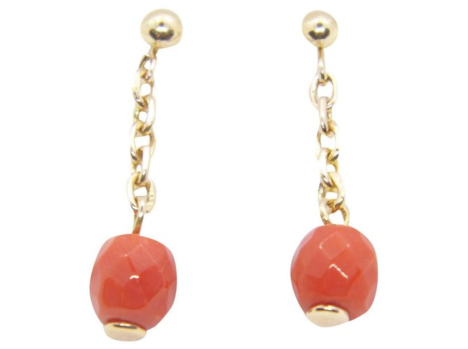 Autre Marque old rose gold bo  18k coral Earrings Pink gold Pink ref.190625