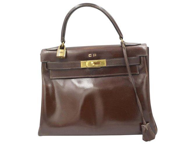 Hermès Hermes Kelly vintage handBag 28 in brown leather Handbags Leather Brown ref.191086