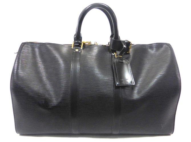 Sacs de voyage Louis Vuitton KEEPALL 45 CUIR EPI NOIR Cuir Noir ref.191149