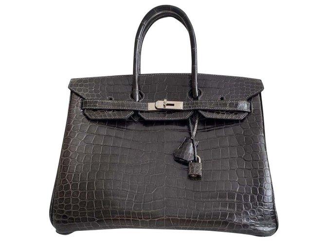 Hermès Birkin 35 Crocodile Porosus Lisse Handbags Exotic leather Brown ref.191296