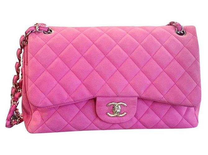 Chanel CHANEL Jumbo Pink Suede Caviar classic flap bag Handbags Leather Pink ref.191518