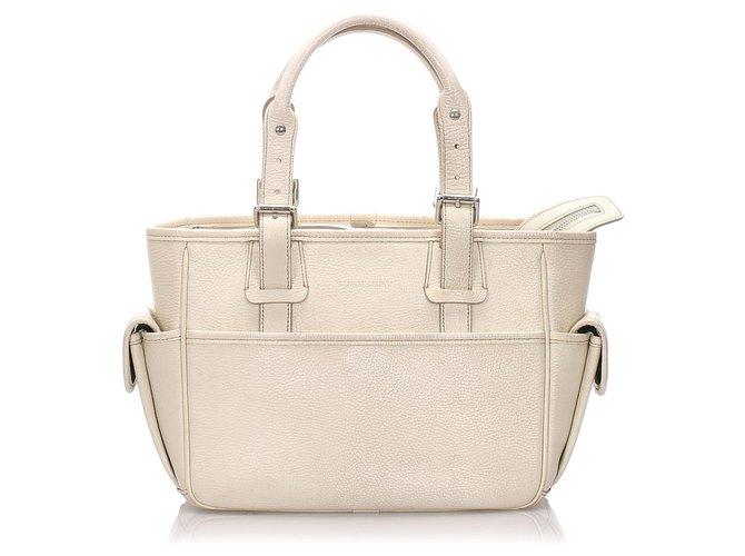 Burberry Burberry White Leather Handbag Handbags Leather,Pony-style calfskin White ref.191989